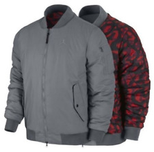 Air Jordan Fly REVERSIBLE Quilted Camo Mens Jacket Gray Red Camo M Medium NWT