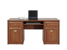 Bolden Study Desk computer office drawer keyboard shelf brass cherry wood effect