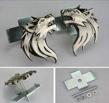 Bronze/Gray/Chrome Alloy Wolf Head Front Grille Badge Car Sticker Emblem 1 PC