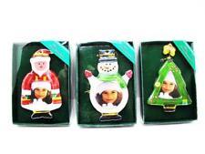 Christmas Glass Photo Ornament Set of 3 Santa, Christmas Tree, Snowman (715OR)
