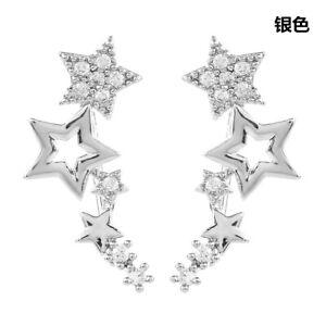 Elegant Stars 925 Silver Stud Earrings Women White Sapphire Jewelry A Pair/set