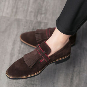 Mens Pu Leather Fashion Pointed Toe Slip On Loafers Formal Dress Oxfords Shoes