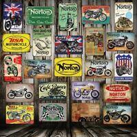 plaque en tôle moto NORTON fer vintage de garage plaque métal réédition 20x30cm