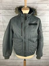 Mens SCHOTT Parka Flying Jacket - Small - Grey - Quilted - Great Condition