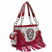 Sugar Skull CHL Purse Pink Fringe & Gray Accents New Calavera Shoulder Handbag