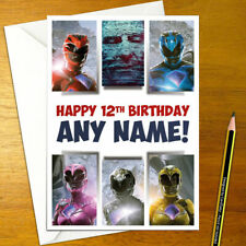 POWER RANGERS Personalised Birthday Card - large A5 red blue morphing megazord