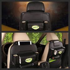 Black Car Seat Back Bag Organizer Storage iPad Phone Holder Multi-Pocket Leather