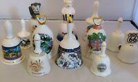 RARE Lot of 10+ Tourist Souvenir Ceramic & Porcelain Hand Bells From All over