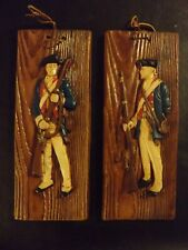 VINTAGE REVOLUTIONARY COLONIAL PATRIOT SOLDIERS 3D CERAMIC WALL HANGING LOT/2