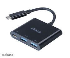 Akasa AK-CBCA08-15BK Type-C to Power Delivery Adaptor with USB 3.0 Hub