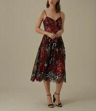 NEW Karen Millen Sequin Lace Midi Dress Red Size 14