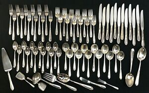 """70 Piece Reed & Barton """"Silver Wheat"""" Lot, Sterling Flatware Set, Service for 12"""