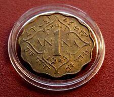 XF-AU Mint 1944 British India George VI One Anna Brass Specimen with Holder