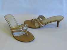 Guess by Marciano Caramel/Ivory Leather Heels Slides Thongs - 6.5M – GR8!
