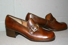 8 B New Vtg 70s Brown Buckle Sebago Chunky Heel Slip-On Pumps Shoe 1970s Nos