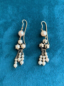 Antique Cultured White Pearl Chandelier Earrings