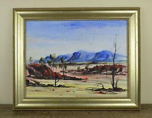 Rare Aboriginal Finke River Mission Hermannsburg Signed Crombie Oil Painting