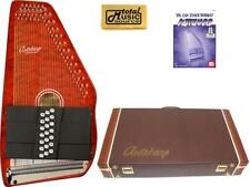 Oscar Schmidt 21 Chord Classic Autoharp Quilted Maple Top, Trans Red, OS12CQTR