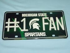 """Michigan State Spartans  """"#1 FAN""""  metal  LICENSE PLATE New!  by Rico"""