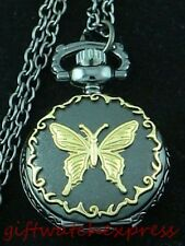 Victorian Gold-tone Butterfly Antique Style Necklace/KeyRing/Pocket Watch, Black