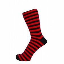 MENS BLACK & RED STRIPED ANKLE SOCKS - SIZE: UK 6-11 PUNK SEX PISTOLS CLASH