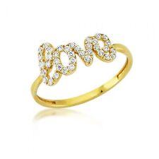 Damenring 333er Gold Zirkonia Love Ring Damen Verlobungsring Fingerring Schmuck