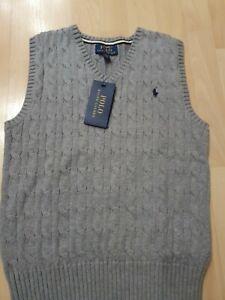 Ralph lauren sleeveless jumper cable knit age 10 grey bnwt