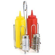 Combination Condiment Rack 5 Piece Set Inc 2 x Salt & Pepper Shakers Dispensers