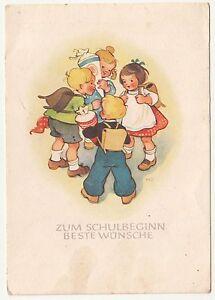 Schulanfang Ak Kinder mit Schulranzen & Schultüten Marianne Drechsel ! (A1956