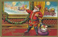 ~Santa Claus in Window with Santa~Smiling Moon~ Car Reindeer sled Postcard-a620
