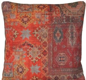 "Rug Printed Cushion Cover Oriental Kilim Cotton Rusty Red Fabric 16"" 18"" 20"" 24"""