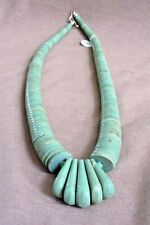 Native Santo Domingo Green Turquoise Graduated Necklace by Lupe Lovato JN355