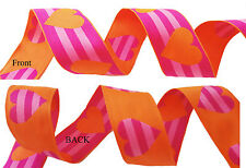 "1.5"" HEART PRINT GROSGRAIN RIBBON Reverse Print Double Sided HOT PINK ORANGE"