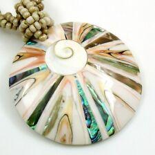 """Handmade 2"""" Round Paua Abalone Shell Cone Shell Shiva Eye 18.5"""" necklace ; AA270"""