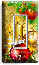 CHRISTMAS TREE ORNAMENTS CANDLES SINGLE GFCI LIGHT SWITCH PLATE COVER HOME DECOR