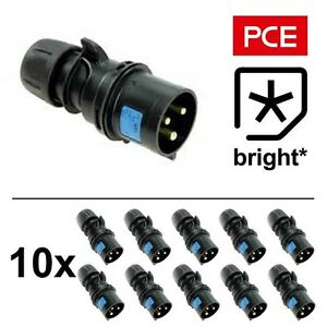 10 x 16 Amp PCE IP44 Black Ceeform Male Plug Connector 16A Stage Theatre