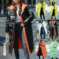 Womens Winter Warm Long Overcoat Quilted Padded Puffer Bubble Hooded Coat Jacket