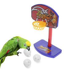 Pet Parrot Chew Toy Parakeet Training Mini Basketball Hoop Trick Props W/ 3 Ball