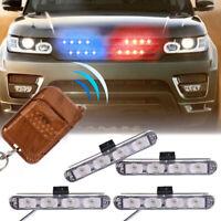 16LED Red Blue Police Hazard Strobe Flash Light Warning Urgent Lamp + Remote