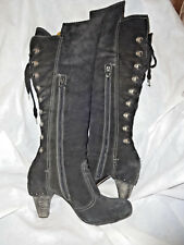 ANNETTE GORTZ BLACK SUEDE LEATHER LACE UP KNEE HIGH BOOT SIZE UK 8 EU 41  VGC