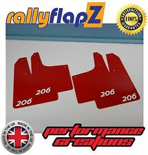 Rally style Mudflaps PEUGEOT 206 GTi Mud Flaps (3mm PVC) Qty4 Red Logo White