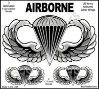 US Army Airborne Silver Jump Wings Decal Stickers, 4 Inch, 3 Count. High Quality