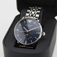 NEW AUTHENTIC EMPORIO ARMANI AUTOMATIC BLUE SILVER MECCANICO MEN'S AR4658 WATCH