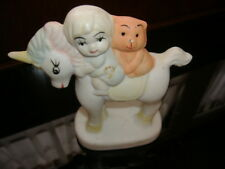 "Vtg Unicorn Figure 5"" Bisque Ceramic Porcelain Taiwan Cat and Child Riding Uni"