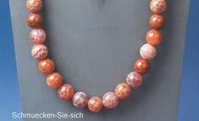 ACHAT (Feuerachat) Kette        ...  in orange-rot-weiß