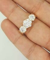 ESTATE 14K 585 YELLOW GOLD NATURAL ROUND DIAMOND FLOWER CLUSTER BAND RING 5.75