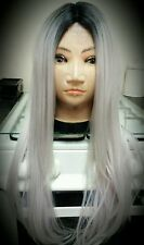 Real Human Hair blend Wig, white, Silver, Lace Front, Long, Ombré,