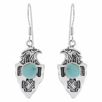925 Sterling Silver Round Simulated Turquoise Eagle Design Drop Birds Earrings
