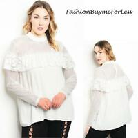 PLUS Size Ivory Victorian Gothic Faux Silk Chiffon Lace Trim Blouse Top 1X 2X 3X