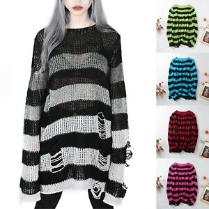 Punk Gothic Jumper Sweater Women Striped Ripped Hole Oversized Long Pullover Top